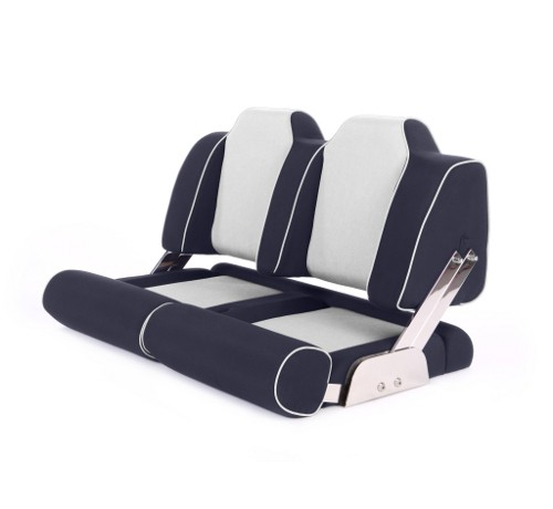"""Double boat seat """"Cruiser""""-blue leather"""