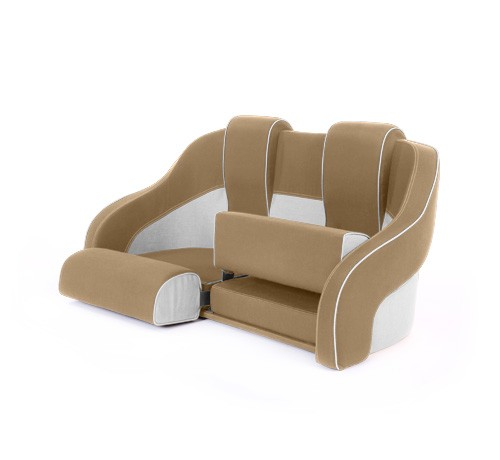 """Double boat seat """"Frigate""""-beige white leather"""