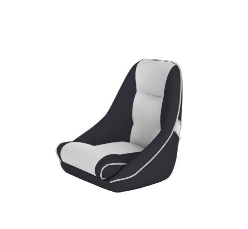 "One place pilot seat ""Canoe""-black white leather"