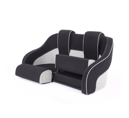 """Double boat seat """"Frigate""""-black white leather"""