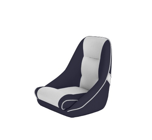 """One place pilot seat """"Canoe""""-blue white leather"""