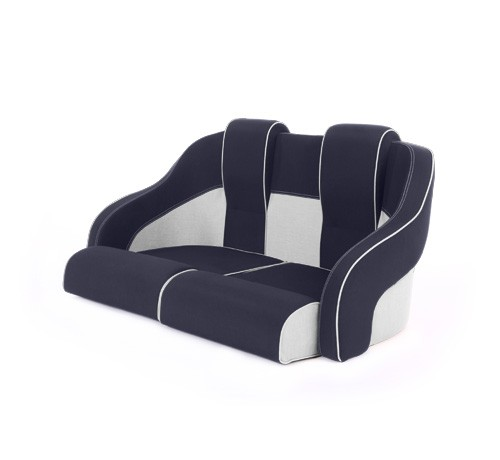 """Double boat seat """"Frigate""""-blue white leather"""