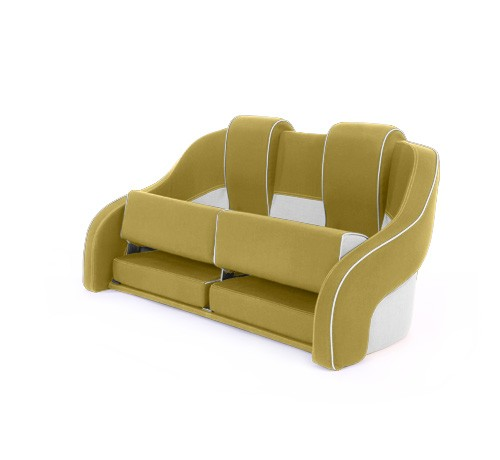 """Double boat seat """"Frigate""""-yellow white leather"""